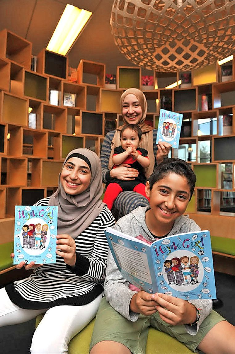 'Hijabi Girl' co-author and fans at Craigieburn Library (Star Weekly)